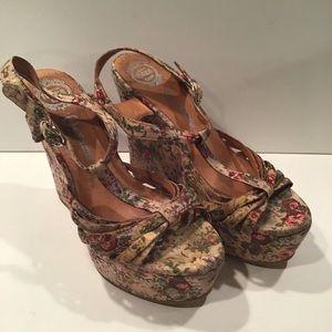 Jeffrey Campbell Tan Floral Wedge Sandals